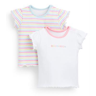 Pack 2 t-shirts caneladas riscas menina bebé