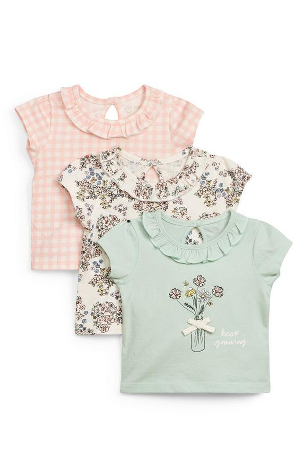 Baby Girl Floral Print T-Shirt 3 Pack
