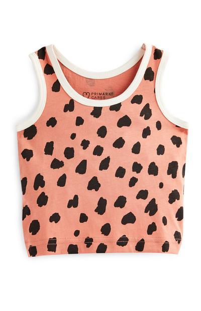 Top s/ mangas padrão animal menina bebé cor-de-rosa