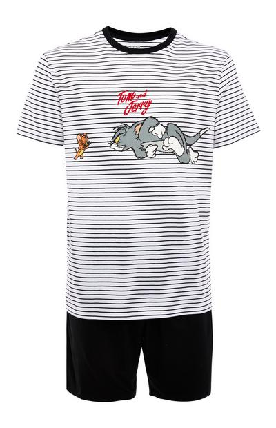 Monochrome Striped Tom And Jerry Short Pyjamas Set