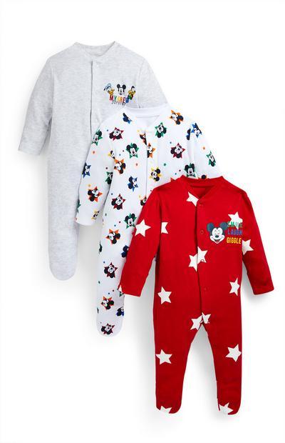 Newborn Baby Boy Disney Mickey Mouse Sleepsuits 3 Pack