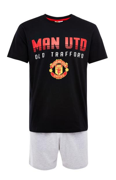 Grey And Black Man United Short Pyjamas Set