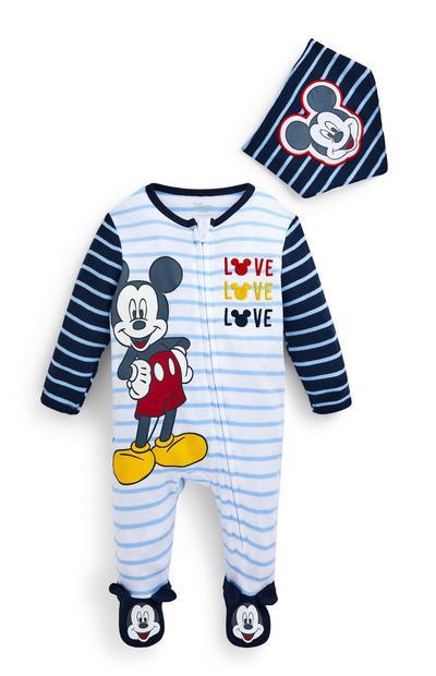 Ensemble grenouillère et bavoir bleus Mickey Mouse bébé garçon