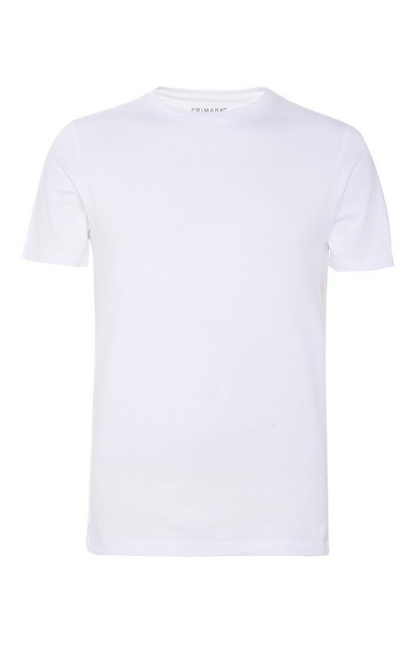 Weißes, figurbetontes Rundhals-T-Shirt