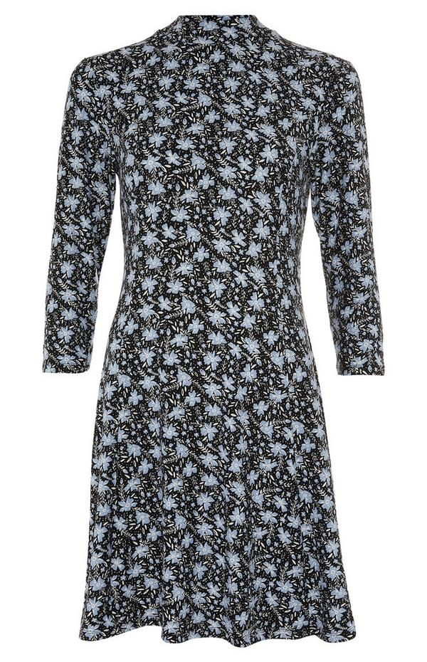 Black And Blue Print Soft Touch Swing Dress
