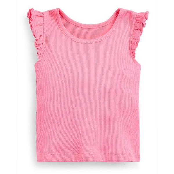 T-shirt canelada menina bebé cor-de-rosa