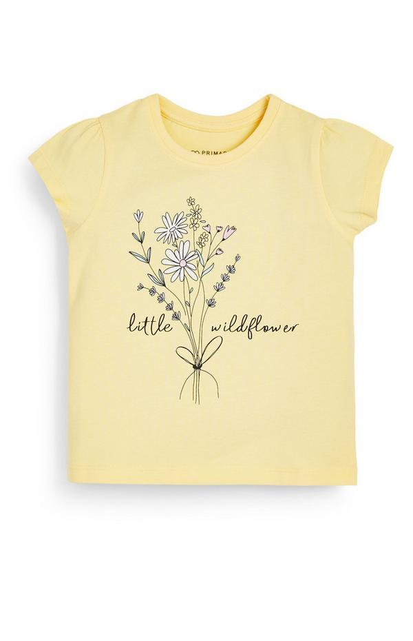 Baby Girl Flower Print Yellow T-Shirt