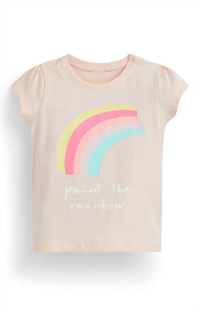 T-shirt rose poudré à imprimé arc-en-ciel bébé fille
