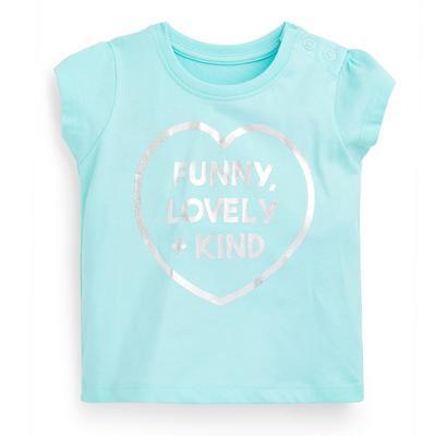 Baby Girl Turquoise Slogan T-Shirt