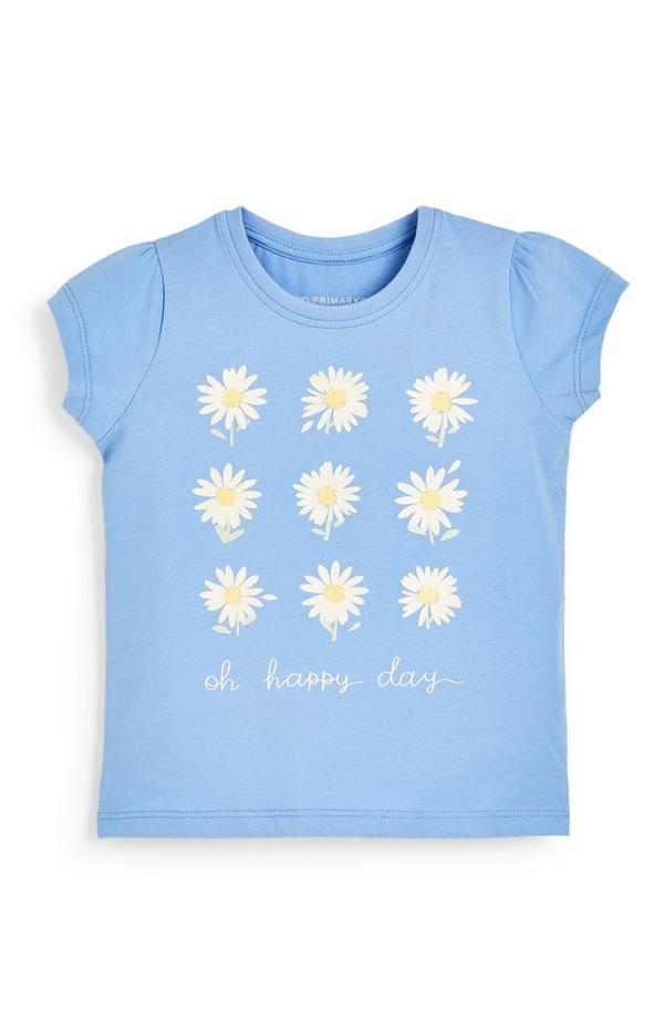 Baby Girl Blue Daisy Print T-Shirt