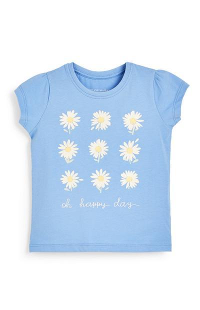 T-shirt bleu à imprimé marguerites bébé fille