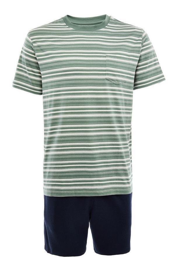 Kurzes marineblau-grün gestreiftes Pyjamaset