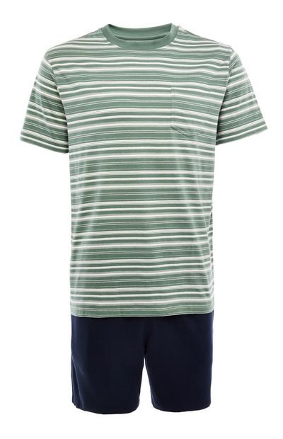 Green And Navy Stripe Short Pyjamas Set