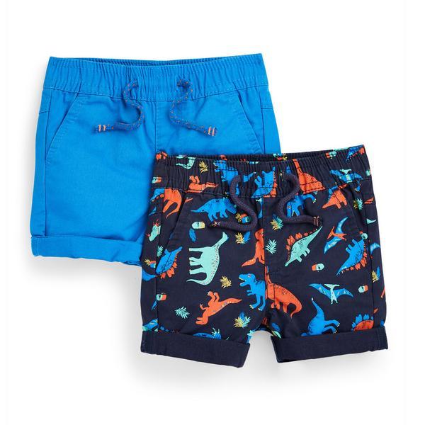 Baby Boy Blue Dino Print Twill Shorts 2 Pack