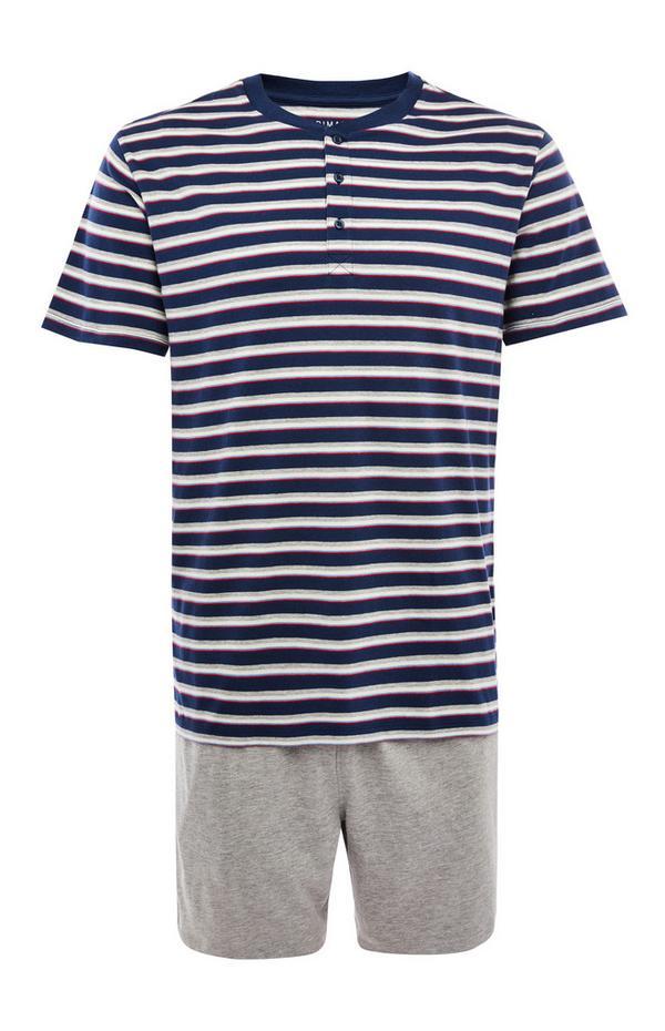 Pyjama bleu marine rayé avec short