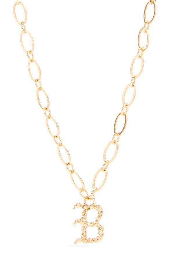 """Goldfarbene Halskette mit gotischer Initiale """"B"""""""