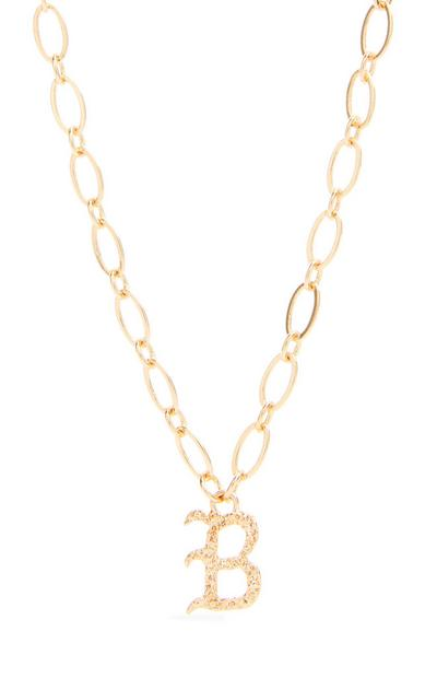 Goldtone Gothic B Initial Pendant Necklace