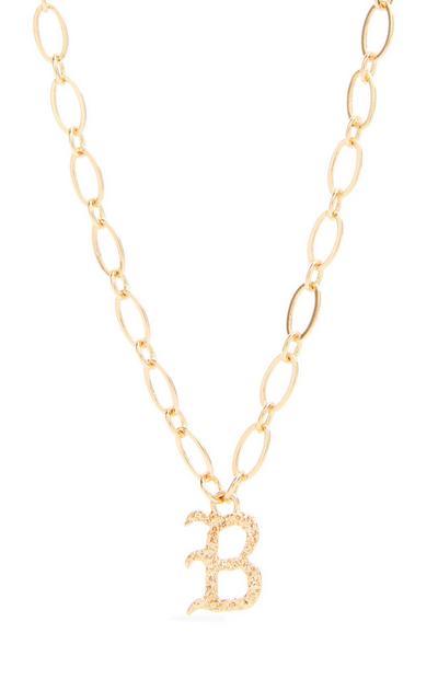 Collana con ciondolo iniziale B in stile gotico color oro
