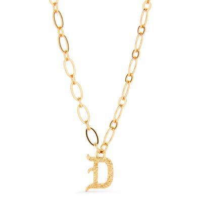 Collana con ciondolo iniziale D in stile gotico color oro