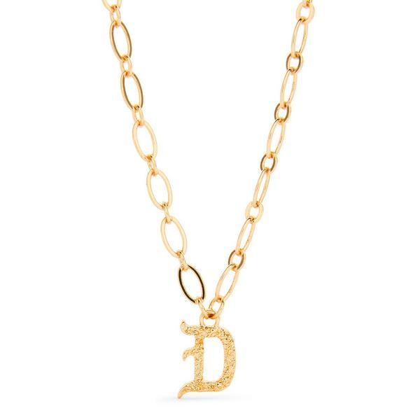 Colar pendente gótico inicial D corrente grossa tom dourado