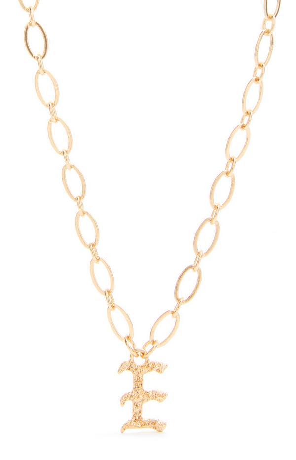 """Goldfarbene Halskette mit gotischer Initiale """"F"""""""