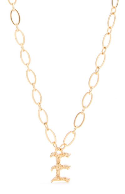 Goldtone Gothic F Initial Pendant Necklace