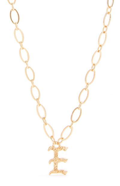 Collana con ciondolo iniziale F in stile gotico color oro