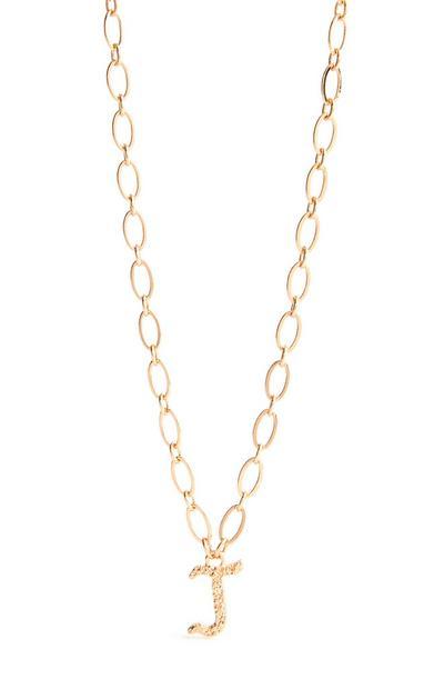 Goldfarbene Halskette mit Initiale