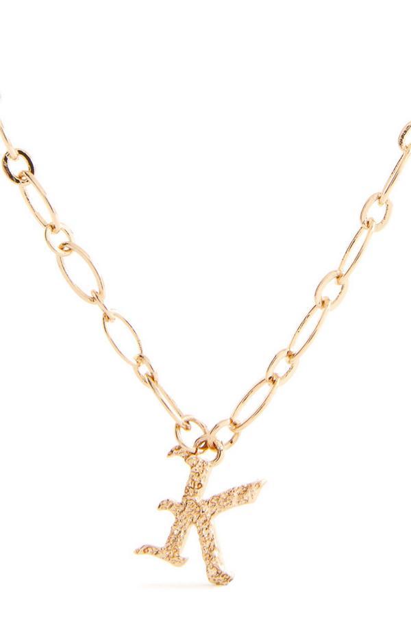 """Goldfarbene Halskette mit gotischer Initiale """"K"""""""
