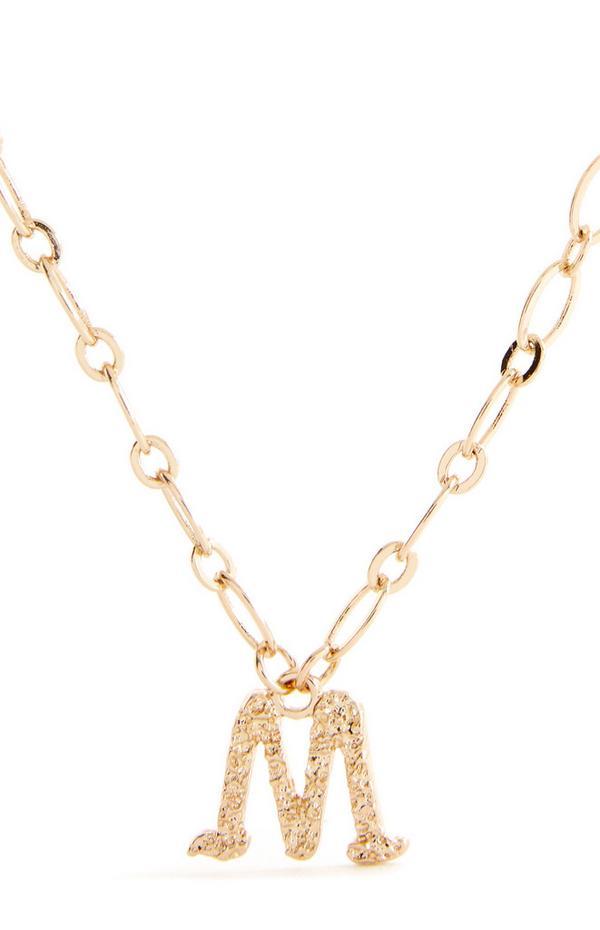 """Goldfarbene Halskette mit gotischer Initiale """"M"""""""