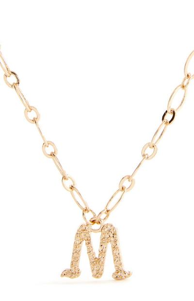 Goldtone Gothic M Initial Pendant Necklace