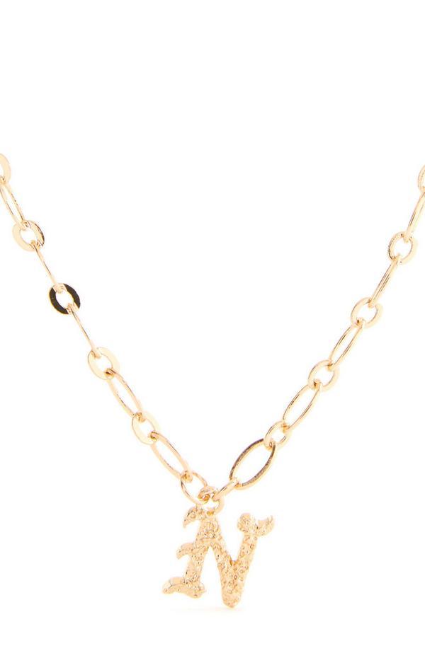 """Goldfarbene Halskette mit gotischer Initiale """"N"""""""