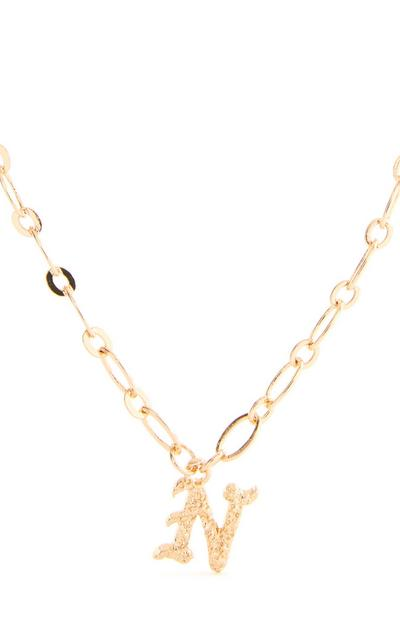 Goldtone Gothic N Initial Pendant Necklace