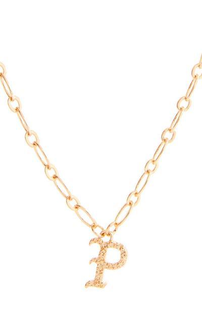 Collana con ciondolo iniziale P in stile gotico color oro
