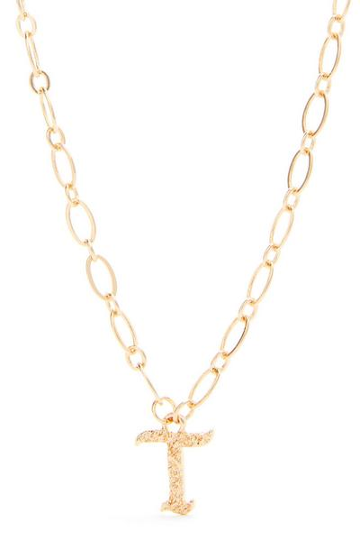 Goldtone Gothic T Initial Pendant Necklace