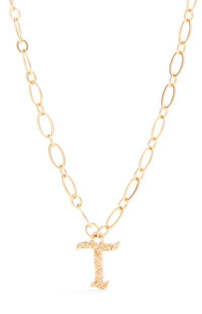 Collana con ciondolo iniziale T in stile gotico color oro