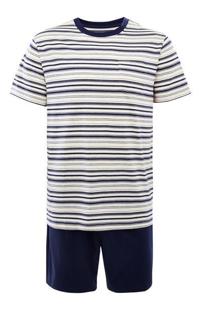 Pijama corto azul marino a rayas