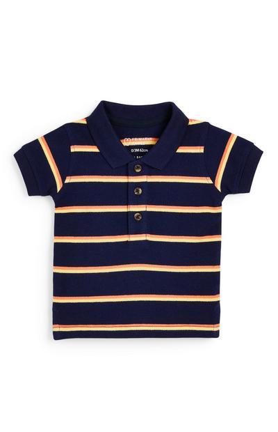 Baby Boy Navy Striped Pique Polo T-Shirt