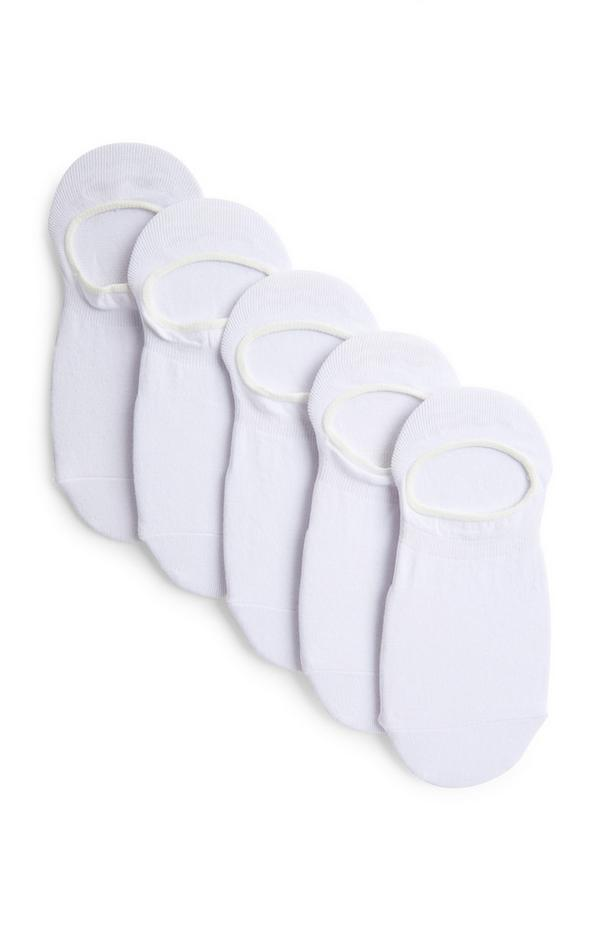 5-Pack White No Show Footie Socks