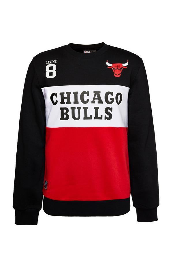 Zwarte sweater NBA Chicago Bulls met ronde hals