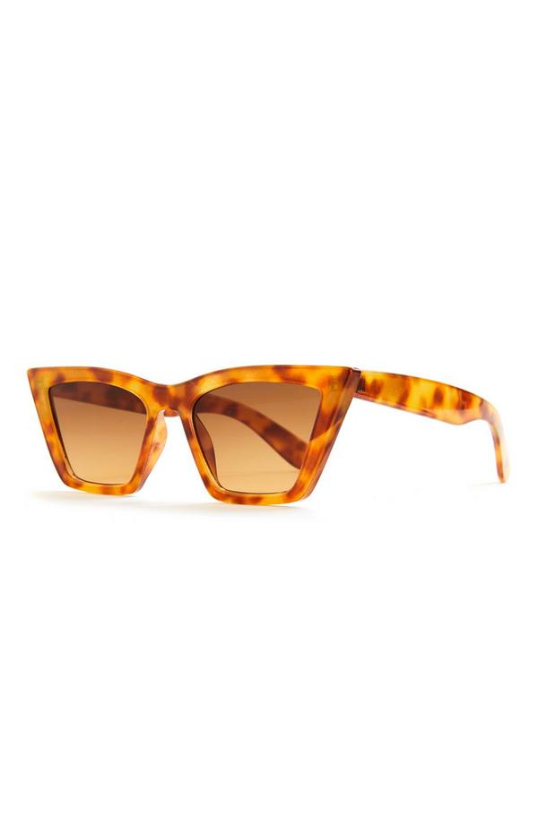 Faux Tortoiseshell Stretched Cateye Sunglasses