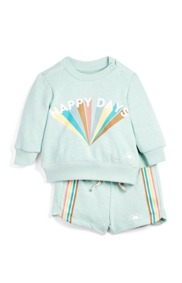 Conjunto color menta de camiseta con «Happy Days» estampado y pantalones cortos para bebé niño