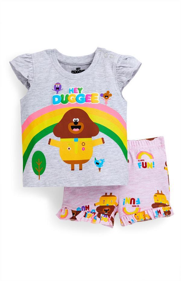 Grijs-roze babysetje met T-shirt en short Hey Duggee voor meisjes