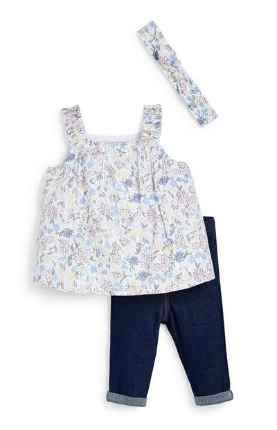 Baby Girl White Floral Blouse And Jegging 3 Piece Set