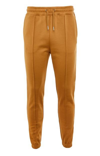 Premium Tan Cotton Tie Waist Joggers