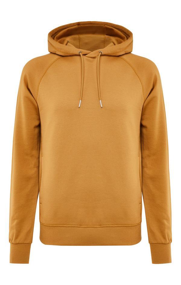 Rjav premium bombažen pulover s kapuco