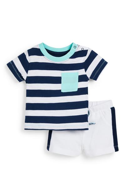 Baby Boy White Striped Jersey T-Shirt And Shorts Set