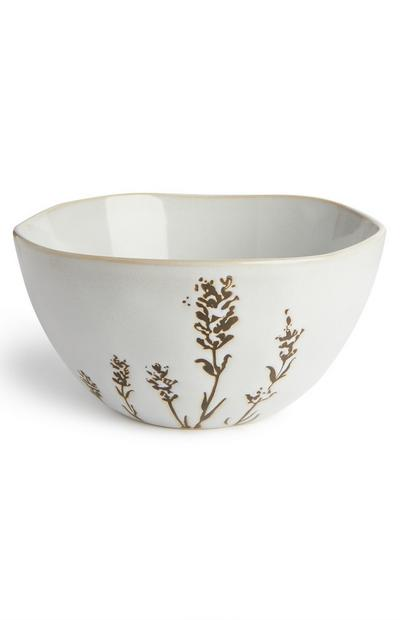 White Floral Serenity Print Bowl