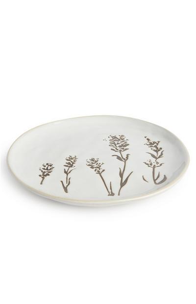 White Floral Serenity Print Medium Plate