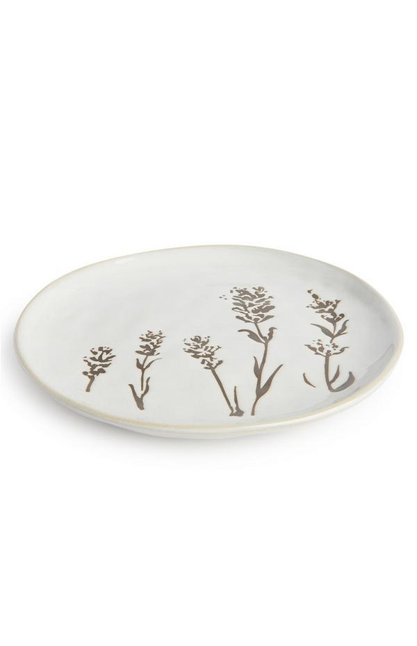 Plato blanco con estampado floral «Serenity»